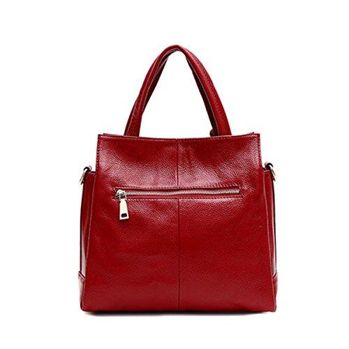 Lady Weich Große Kapazität Litschi Textur Handtaschen Schultertasche Multicolor Red