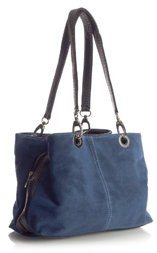 Big Handbag Shop kleine Damen Umhängetasche mit mehreren Reißverschlusstaschen aus Wildleder Medium marineblau - schwarz Trim