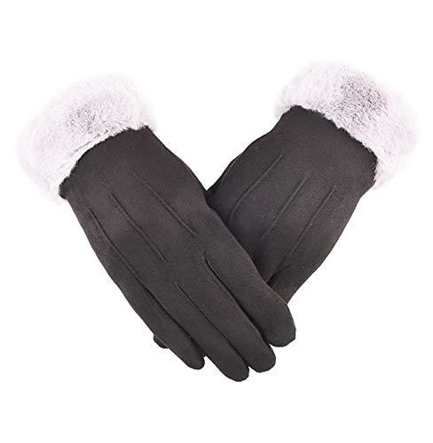 Gnzoe PU Leder Handschuhe Damen Winter Warm LaufHandschuhe Fahrradhandschuhe Touchscreen Schwarz A One Size