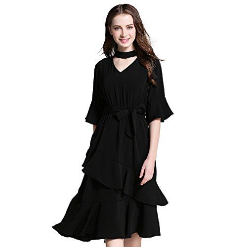 Fur Story 17B51 Femme Robe demi-manche papillon Empire Noir