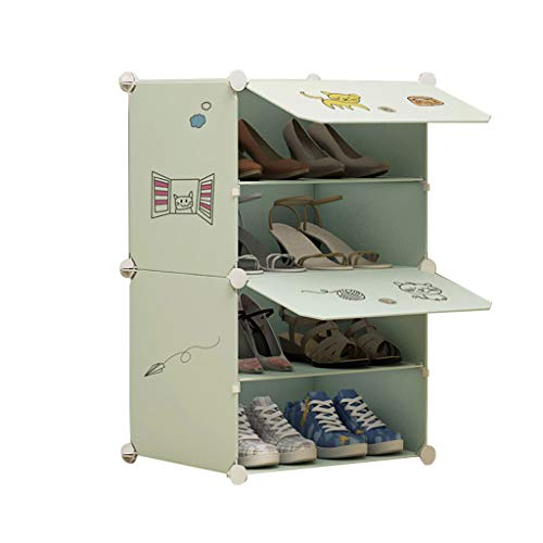 Xiuyun Armoire À Chaussures Debout Dessin Animé Photos Cube Modulaire Verrouillage Organisateur De Chaussures pour Le Placard Couloir Chambre (Couleur : A, taille : L)