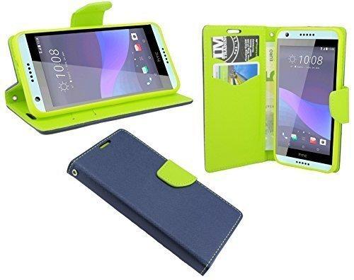 ENERGMiX HTC Desire 650 // Buchtasche Hülle Case Tasche Wallet BookStyle mit Standfunktion in Blau-Grün (2-Farbig