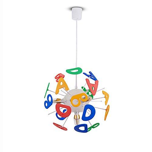 Pointhx Cartoon Englisch Alphabet Pendelleuchten Fixture Moderne Minimalistische E14 4-Licht Hängeleuchte Kronleuchter Kinderzimmer Schlafzimmer Kindergarten Wohnzimmer Deckenbeleuchtung -