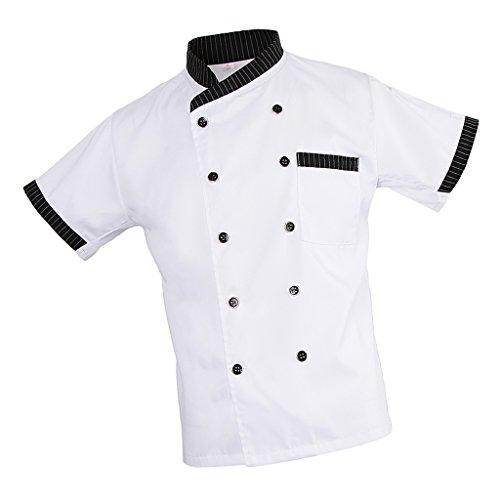 MagiDeal Damen Herren Kochjacke Bäckerjacke mit gestreiftem Stehkragen Kochkleidung Koch Küche Chef Gastronomie Berufsbekleidung - Weiß, L - 8