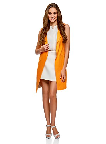 oodji Collection Damen Langer Leinen-Blazer, Orange, EU 36 (XS)