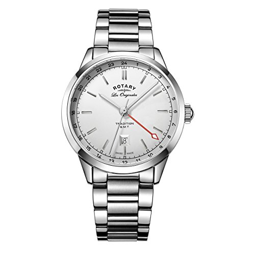 Rotary-Mens-Quartz-Watch-with-Silver-Dial-Analogue-Display-and-Silver-Stainless-Steel-Bracelet-GB9018132