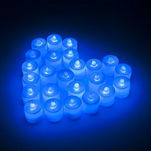 MAXAH Velas LED velas pequeñas 24 Set velas eléctricas, velas de iluminación para vacaciones Navidad / Año Nuevo / cumpleaños / Día de San Valentín / de la boda, etc. (azul)