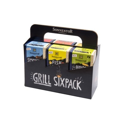 Sonnentor Grill Six Pack Grillgewürze - 415 g BIO Sonnentor Smokey Salt, Smokey Paprika, Holy Veggie, Rub Me Tender, Steak That und Fish & Chicks im 6er Pack
