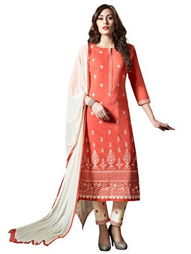 Kvsfab Women's Orange & White Cotton Unstitched Dress Material [KVSSK10005SDRS]