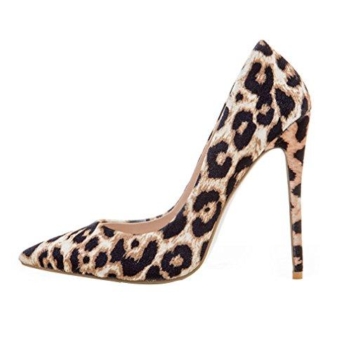 ENMAYER Womens High Heels Spitz Zehe Schuhe Slip-on Court Party Kleid Pumps Leopard