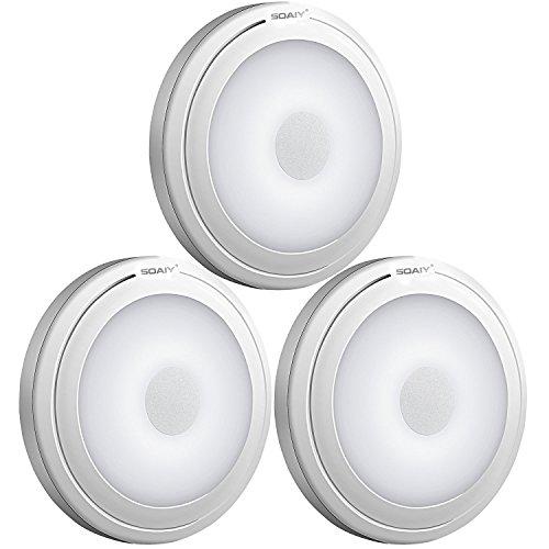 [neue Version] SOAIY 3er-Set LED Nachtlicht mit Touchsensor Dimmbar Batteriebetrieben Touch Lampe Schrankleuchte Küchenlampe Memory-Funktion Kaltweiß 5000K