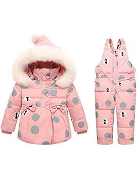 Premewish Baby Mädchen Schneeanzug Set,2 tlg Daunenjacke und Schneelatzhose,Kapuze mit Abnehmbaren Plüschbesatz...