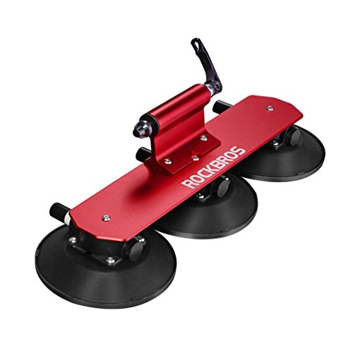RockBros Roof-top Bike Rack Car Bike Fork with Rear Strap Suction Cup Bike racks Install Carrier Easy Car Roof Rack (Red for 1 bike)