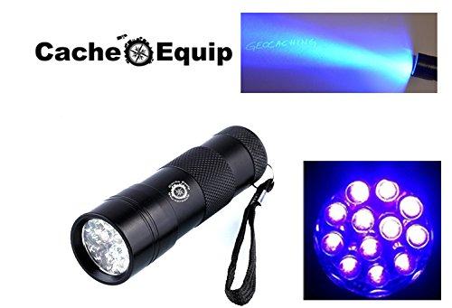 Preisvergleich Produktbild CacheEquip - Qualität - Uv TESTBERICHT Taschenlampe mit 12 LED Skorpion Geocaching Geld prüfen Ultraviolett schwarz licht
