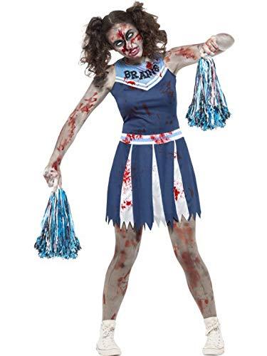 costumebakery - Damen Frauen Kostüm Horror Zombie Cheerleaderin mit Kleid und Puschel, perfekt für Halloween Karneval und Fasching, XS, Blau