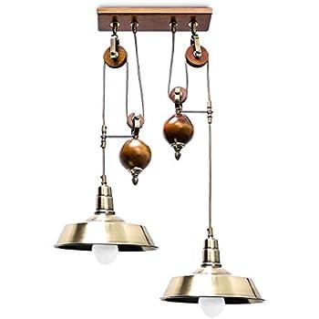Relaxdays Luminaire lustre Lampe à suspensions 2 ampoules avec système de poulie Plafonnier antique hauteur réglable socle en bois abat-jour en métal