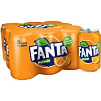 Fanta - Naranja, Refresco con gas, 330 ml (Pack de 9), Lata