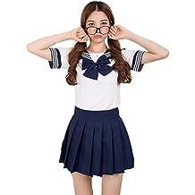 Colorfulworld Disfraz de colegiala, marinera, Anime, Uniforme, dark bule, medium