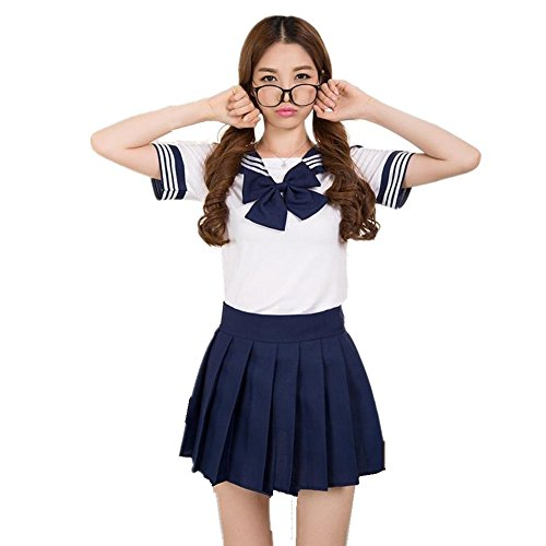Sailor School Uniform (Colorfulworld Schulmädchen Kostüm Sailor Anime Cosplay Schülerin Outfit School Uniform Fasching costume (XL, dark bule))