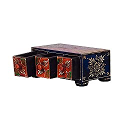 eCraftIndia Adorning Floral Work Multiutility Wooden Rack Drawer Box, Brown and Red