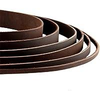 Auroris Lederband Flach Dunkelbraun Breite Wählbar 2/3/4/5/8/10/15/20/25/30 mm - Variante: Breite 15mm/Länge 1m