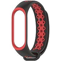 Conquro Correa Banda de Reloj de Silicona Resistente TPU Anti-Apagado Pulsera para XiaoMi mi Band 3 (Rojo)