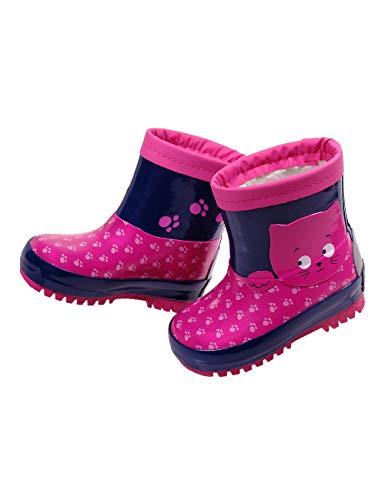 maximo Kindergummistiefel, Babygummistiefel für Mädchen mit Winterfutter, pink/Tinte, Motiv Katze, Reflex 3M (25 EU)