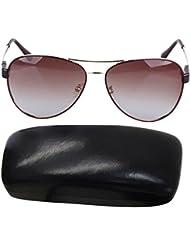 LEIDISEN Damen Shiny Wayfarer Stil Sonnenbrille UV400 Metall Rahmen Brillenetui Brillenbeutel Damenbrillen - Kaffee Rahmen