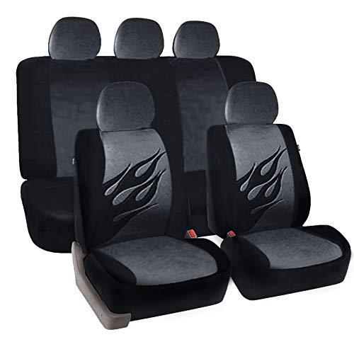 to Schonbezug Komplettset Sitzbezüge für Auto mit Flamme Muster schwarz/grau SCSC0031 ()