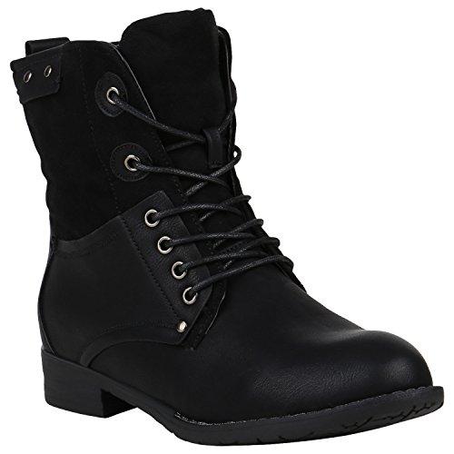 stiefelparadies Damen Stiefel Leicht Gefütterte Stiefeletten Schnürstiefeletten Schuhe 150340 Schwarz Nieten 38 Flandell