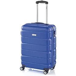 Double2 maleta JohnTravel 70 cm, cuatro ruedas dobles, ABS (Azul)