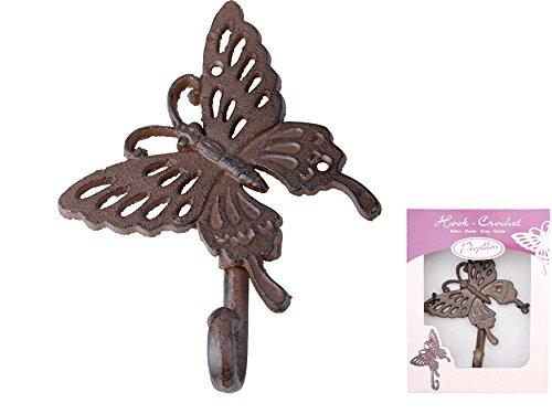 Esschert Design ba04 Petit crochet en fonte Motif papillon Petit