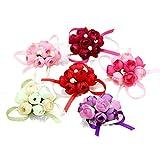 6 pz colore casuale panno simulazione perle fiori braccialetti matrimonio decorazione sposa sposa damigella polso mano fiori coriandoli per decorazione matrimonio
