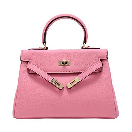 HJLY Leather Lederhandtasche Kelly Baotou Schichtleder-Litschi-Musterhandtasche Einfaches Schulterdiagonalpaket ({type=string, value=28 * 20 * 12 cm},{type=string, value=Pink})