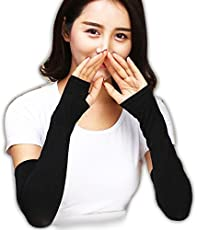 INFInxt Let's Slim Cool Summer Girls Arm Sleeve For Sun Protection And Tan Lines Prevention, Black Colour