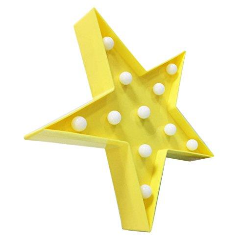 Gelb Dekorative Lichterkette (MagiDeal Mini Dekorative Leuchten Lampe, 3D LED Nachtlicht Lampe Schreibtischlampen Beleuchtung Batteriebetrieben, Kinder Kinderzimmer Tisch Wand Dekorationen, Star Form - Gelb Stern)