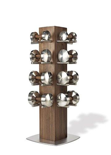 Hock DISKUS TOWER Luxus Hantelset 4-18kg - Hochwertige Edelstahl / Nussbaum Hanteln für Deine Fitness. Hantel Paar Made in Germany.