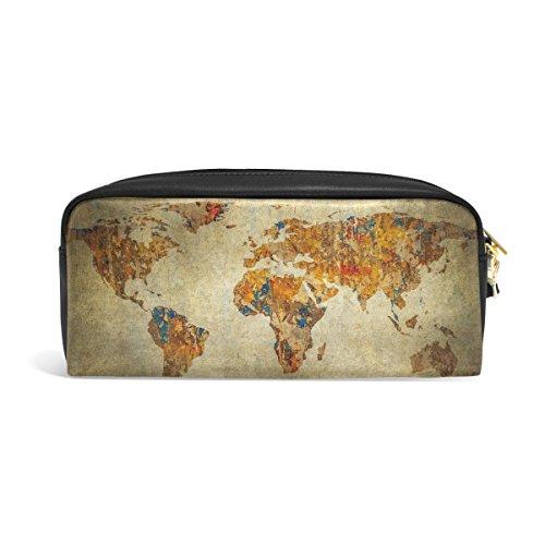 zzkko Vintage Weltkarte Leder Reißverschluss Federmäppchen Pen Stationäre Bag Kosmetik Make-up Bag Tasche Geldbörse (Weltkarte Stationären)