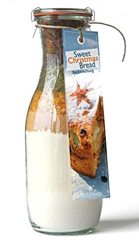 Backmischung im Weckglas für süßes Weihnachtsbrot- Raffinierte Geschenkidee für Backfreunde- Backzutaten für die einfache Zubereitung von süßem Weihnachtsbrot- Gourmetbackmischung von Feuer & Glas