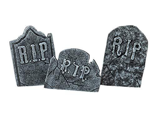 EUROPALMS Halloween Grabsteinset | Dreiteiliges Grabstein-Set mit Standfüßen | Kostengünstige Dekoration für Ihre Halloween-Party