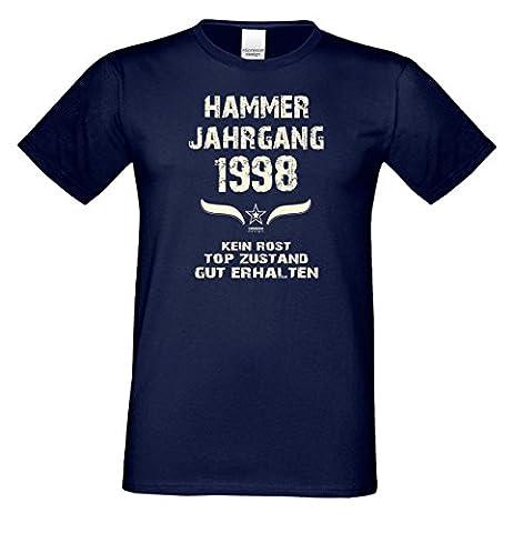 Geschenkidee Geschenk zum 19. Geburtstag für Männer :-: Geburtstags Herren Kurzarm T-Shirt mit Jahreszahl und Spruch :-: Hammer Jahrgang 1998 Farbe: navy-blau Gr: M