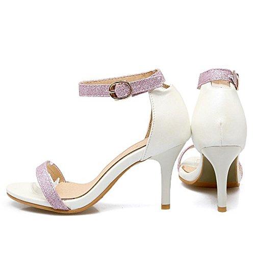 COOLCEPT Femmes Mode Orteil ouvert Talons hauts Talon Aiguille Sandales Sangle de cheville Chaussures Blanc