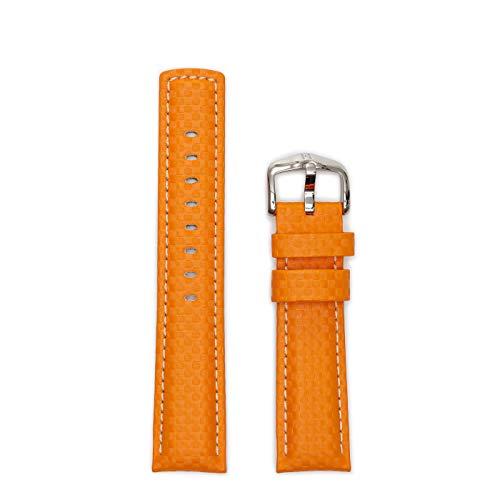 HIRSCH Herren Uhrenarmband Karbon Style Modell Carbon Größe Uhr 22 mm/Schließe 20 mm, Farbe Orange