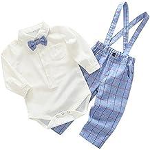 Wongfon Piccolo Gentiluomo Capi di Abbigliamento Attrezzatura - Camicia da Bowtie per Ragazzi Pagliaccetto e Pantaloni a Maniche Corte Scozzesi Pantaloni 2 pezzi Abbigliamento per 0-2 anni