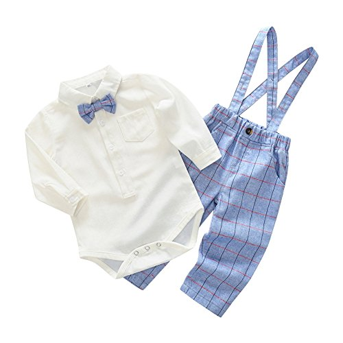 Bow Boys Tie Hosenträger (Wongfon Little Gentleman Kleidung Outfit-Boys Bowtie Shirt Strampler und Plaid Hosenträger Overalls Hosen 2 Stück Kleidung Outfit für 0-2 Jahre)