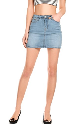 AMORETU Damen Sexy High Waist Mini Rock Pencil Knöpfe Jeansrock Hellblau (Mini-knopf Blauer)