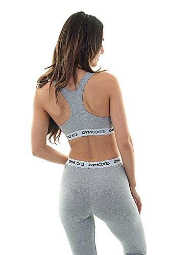 Gymcodes - Reggiseno sportivo, in cotone, per la palestra, lo yoga e il tempo libero Grau