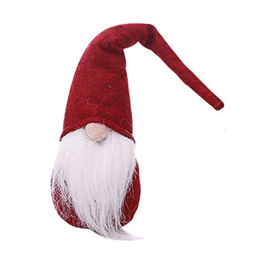 TPulling Weihnachts Dekoration  Mode Stehender Gesichtsloser Weihnachtsmann Handgemachtes Sankt Stoff Puppen Geburtstags Geschenk für Hauptweihnachtsfeiertags-Dekoration (Rot)