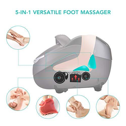 Naipo Fussmassagegerät Shiatsu Fußmassagegerät mit Wärmefunktion, Elektrisch Fussmassage mit Kneading Rollen Luftkompression für Fußpflege und Entspannung für Zuhause Büro