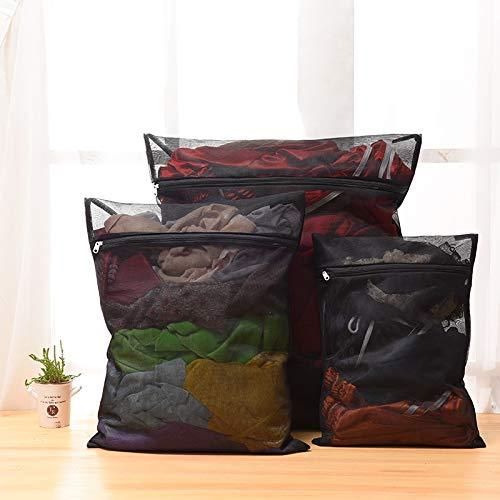 CHENZHAOL Wäschesack 1 stück Kleidung Waschmaschine wäschesack mit reißverschluss Nylon mesh net BH waschbeutel 5 größen schwarz waschbeutel (Color : L40w50) -